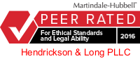 Martindale.com AV Rating of Hendrickson & Long, Symbolizing Its Selection for Ethical Standards and Legal Ability